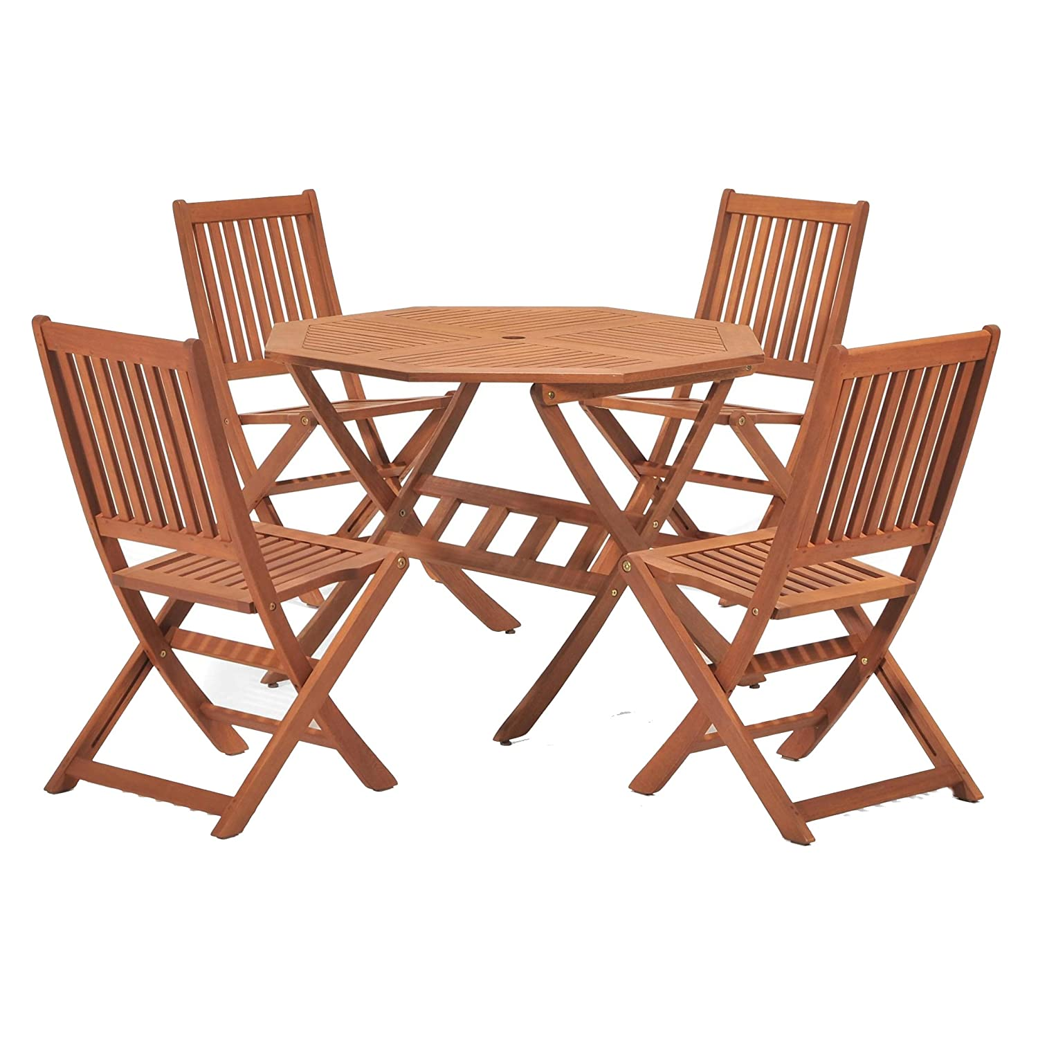 NEW Outdoor Dining Set Eucalyptus Wood Chairs Table Garden