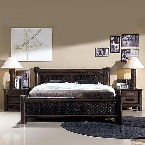 Rattanbett Kolonial Bett Liegefläche 180 x 200 | Koloniabett Doppelbett schwarz dunkel Holzbett Bettgestell Bambusbett mit Lattenroste