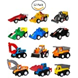 Toy Cars, Pull Back Cars, Pull Back Vehicles,WINONE 12 Pack Boys Kids Toddler Toys Assorted Construction Vehicles and Racing Cars, Birthday Party Supplies, Kids Toys for 3 4 5 year old boys