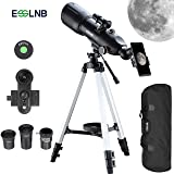 ESSLNB Telescopes for Adults Astronomy Beginners Kids 400X80mm with 10X Smartphone Adapter Adjustable Tripod Case and Moon Filter Erect-Image Diagonal Prism (Color: 40080 Telescope)