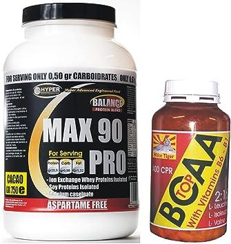 Kit besteht aus 3 Protein 90% Slow-Release-Protein-Quellen, wenig Fett und Kohlenhydrate mit Vitaminen, ohne Aspartam (750 gr. Kakao-Geschmack) und verzweigtkettigen Aminosäuren BCAA mit Vitamin B6 und B1 (100 Tabletten - 105 Gramm) angereichert