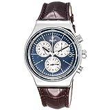 Swatch Irony Destination London Blue Dial Leather Strap Men's Watch YVS410C (Color: Blue)