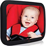 Baby Backseat Mirror For Car - Largest and Most Stable Mirror with Premium Matte Finish - Crystal Clear View of Infant in Rear Facing Car Seat - Safe, Secure and Shatterproof