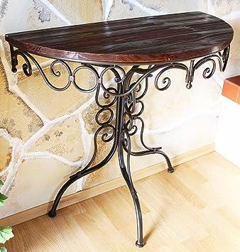 tisch wandtisch hx12582 beistelltisch aus metall halbrund. Black Bedroom Furniture Sets. Home Design Ideas