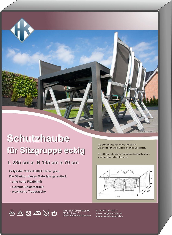 Schutzhaube deluxe grau Oxford 600D Gartenmöbel verschieden Größen (230x135cm eckig – 70 hoch) kaufen