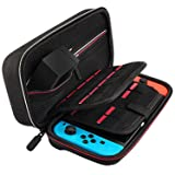 Deruitu Switch Case for Nintendo Switch - Fits AC Wall Charger Adapter - with 29 Games and 2 SD Cards, Hard Shell Travel Carrying Case Pouch for Nintendo Switch Console & Accessories - Black (Color: Black)
