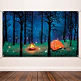 Blulu Forest Scene Camping Backdrop Supplies Camping Photography Background Photo Shoot Backdrop Party Decoration for Camping Theme Party Birthday Party Baby Shower (Color: White)