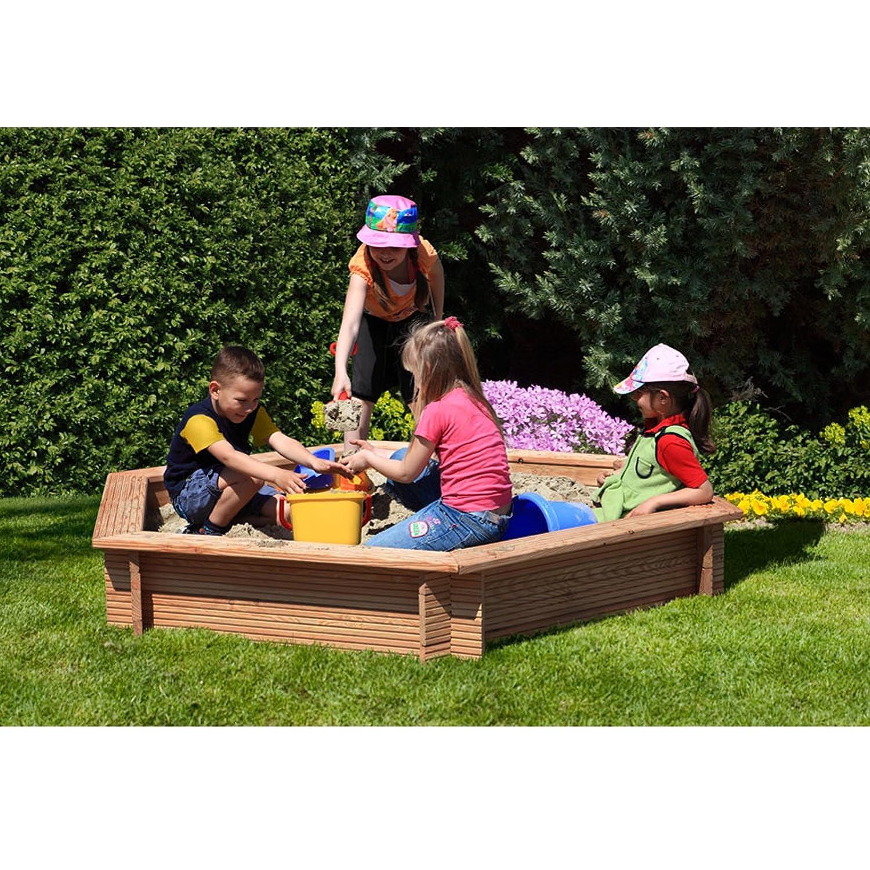 Gartenpirat® Premium – Sandkasten 6-eckig aus Holz Lärche unbehandelt Ø 230 cm online bestellen