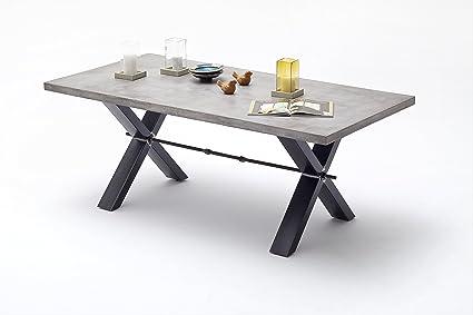 Tavolo da pranzo 200x 100cm in effetto Cemento Grigio/Metallo Anticato
