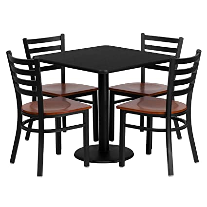 Flash Furniture 30'' Square Black Laminate Table Set With 4 Ladder Back Metal Chairs