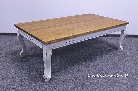 TEAK LANDHAUS COUCHTISCH 140x80x47 Teakholz antik massiv weiss lackiert Tisch