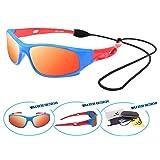 VATTER TR90 Unbreakable Polarized Sport Sunglasses For Kids Boys Girls Youth 816blueredlenses