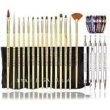 Beaute Galleria Bundle 50pcs Nail Art Tool Kit With Pouch: 5pcs Dotting Tool Marbleizing Pen (10 Sizes), 15pcs Acrylic Gel Detailing Painting Liner Brushes, 30pcs Striping Tapes (Tamaño: 50pcs Bundle Nail Art Tool Kit)