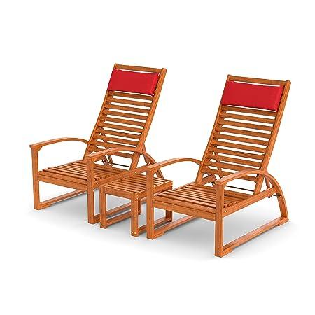 Outdoor Gartenmöbel-Set mit Beistelltisch aus Holz | 2 bequeme Gartenstuhle mit Armlehne, Ruckenlehne verstellbar | Gartengarnitur mit Kopfkissen