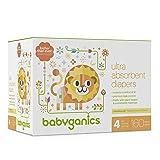 Babyganics Ultra Absorbent Diapers, Size 4, 160 Count (Tamaño: 4)