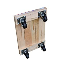 "Vestil HDOS-1624-9 Solid Deck Hardwood Dolly with Hard Rubber Casters, 900 lbs Capacity, 24"" Length x 16"" Width x 5-1/2"" Height"