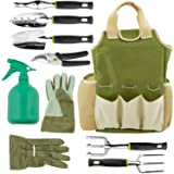 Vremi 9 Piece Garden Tools Set - Gardening Tools with Garden Gloves and Garden Tote - Gardening Gifts Tool Set with Garden Trowel Pruners and More - Vegetable Herb Garden Hand Tools with Storage Tote (Color: Multi, Tamaño: 9 Piece)