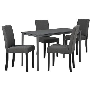 [en.casa] Tavolo da pranzo nobile grigio scuro con 4 sedie grigie scure di alta qualitá - 120cm x 60cm