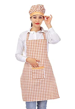 Switchon Brown and White chef's Apron with Cap for Home Hotel and restaurants at amazon