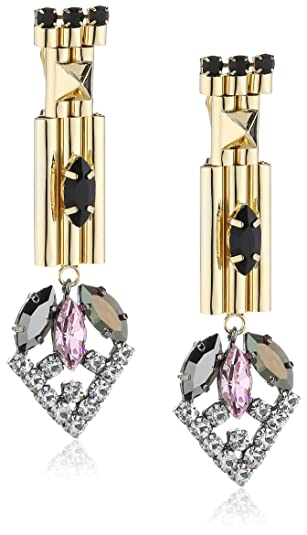 Iosselliani Gold Plated Brass with Somed Black and Rose Stones Clip Earrings