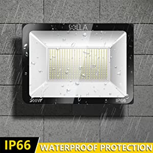 SOLLA 300W LED Flood Light, IP66 Waterproof, 24000lm, 1600W Equivalent, Super Bright Outdoor Security Lights, 3000K Warm White, Floodlight Landscape Wall Lights (Color: 3000k Warm White, Tamaño: 300w)