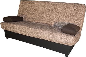 Sofá cama Eko marrón arena con somier, colchón y arcón para salón comedor.