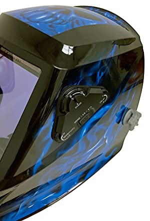 Instapark ADF Series GX990T Solar Powered Auto Darkening Welding Helmet with 4 Optical Sensors, 3.94 X 3.86 Viewing Area and Adjustable Shade Range #5 - #13 Bluish Devil (Color: Blue)