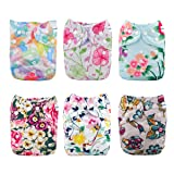 Babygoal Baby Cloth Diapers for Girls, One Size Reusable Washable Pocket Nappy, 6pcs Diapers+ 6pcs Microfiber Inserts+4pcs Bamboo Inserts 6fg27 (Color: Girl color27, Tamaño: One Size)