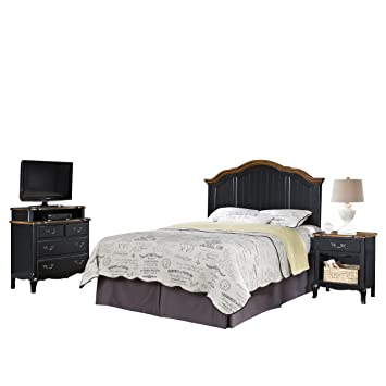 Home Styles 5519-5017 The French Countryside Full/Queen Headboard, Night Stand and Media Chest Set