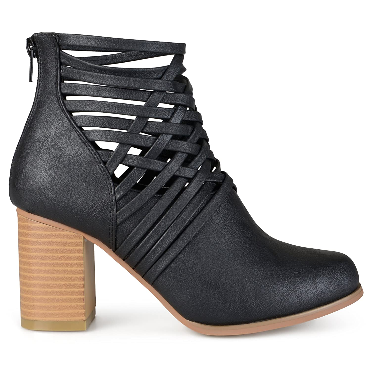 Brinley Co. Womens Chunky Heel Strappy Round Toe Booties