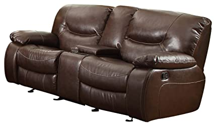 Homelegance 8406-2 Double Glider Reclining Love Seat with Center Console, Dark Brown Bonded Leather Match