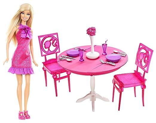 Barbie - X4933 - Dinner Date Night - Dining Room - Barbie avec Table, chaises et décoration