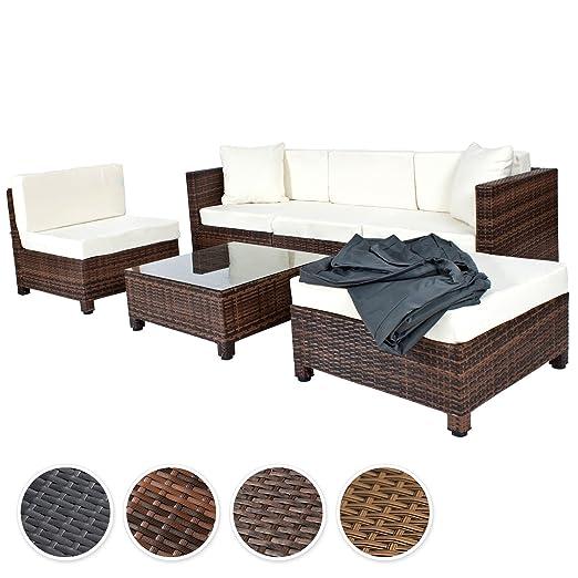 TecTake Hochwertige Aluminium Luxus Lounge mit 2 Bezugssets Poly-Rattan Sitzgruppe Sofa Rattanmöbel Gartenmöbel mit Edelstahlschrauben - diverse Farben - (Mixed-Braun)