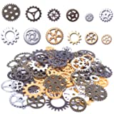 100 Gram Assorted Antique Steampunk Gears Charms Pendant Clock Watch Wheel Gear for Crafting, DIY Jewelry (Mixed Color) (Color: Gold,silver,bronze,copper)