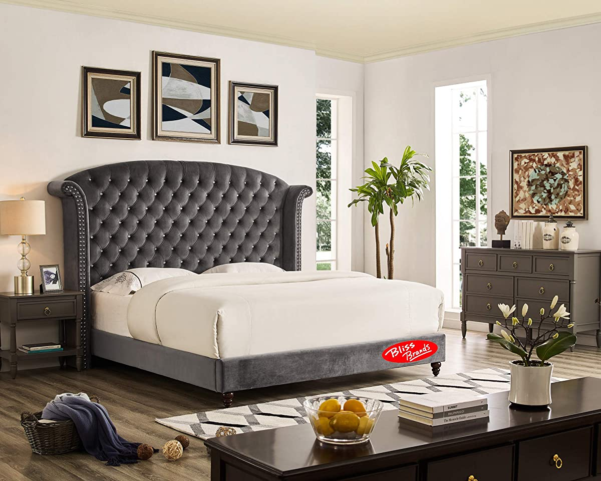 Bliss Brands Bed Frame (Gray), Queen Sized with Tufted Crystal Nailhead Studded Headboard & Velvet Upholstery, 2019 Updated Model