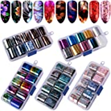 Duufin 50 Colors Nail Foil Transfer Sticker Starry Sky Foil Nail Art Stickers Nail Foil Wraps Nail Adhesive Foil Transfer Glitters Acrylic DIY Decoration Kit
