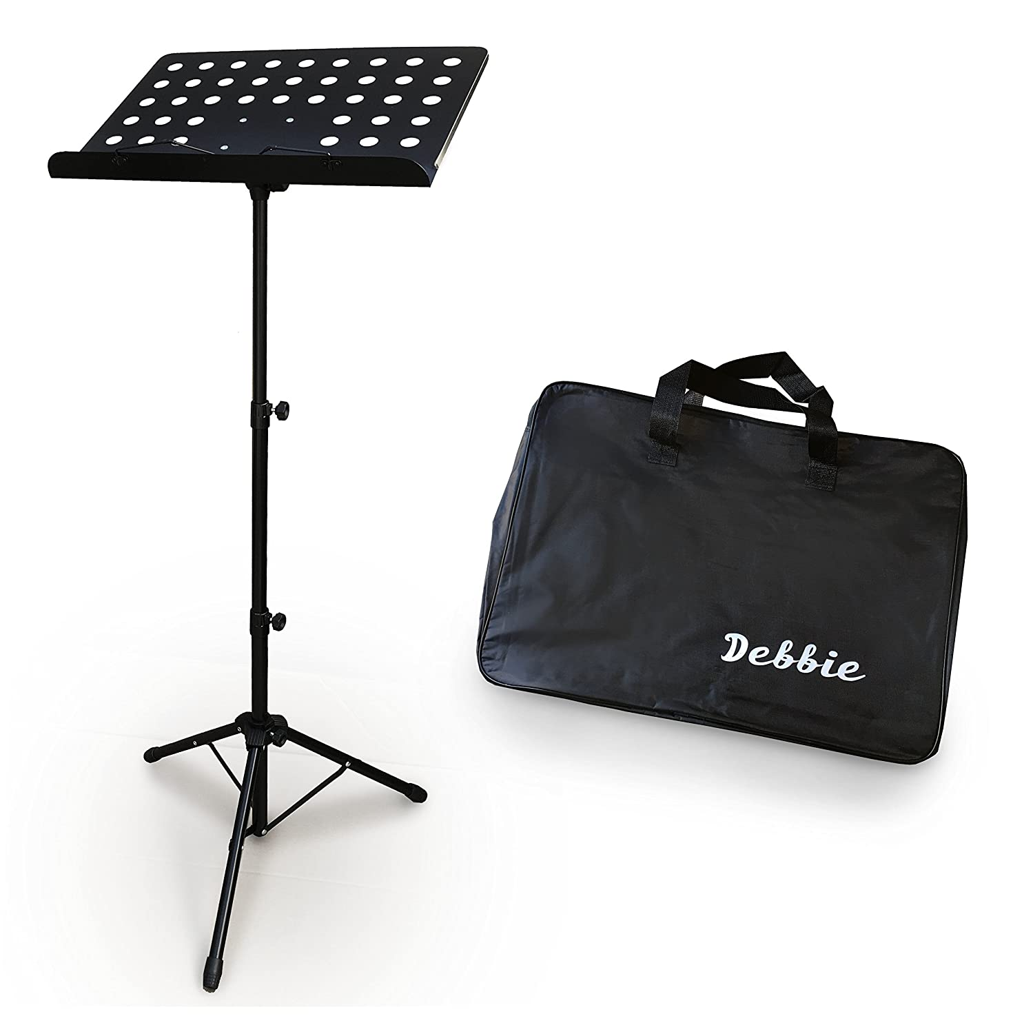 Adjustable Folding Sheet Music Stand Tripod Score Holder Mount IPAD - Free Carrying Black Bag - Heavy Duty and Professional Collapsible Orchestra - Drums, Piano, Violin, Flute, Clarinet, Guitar