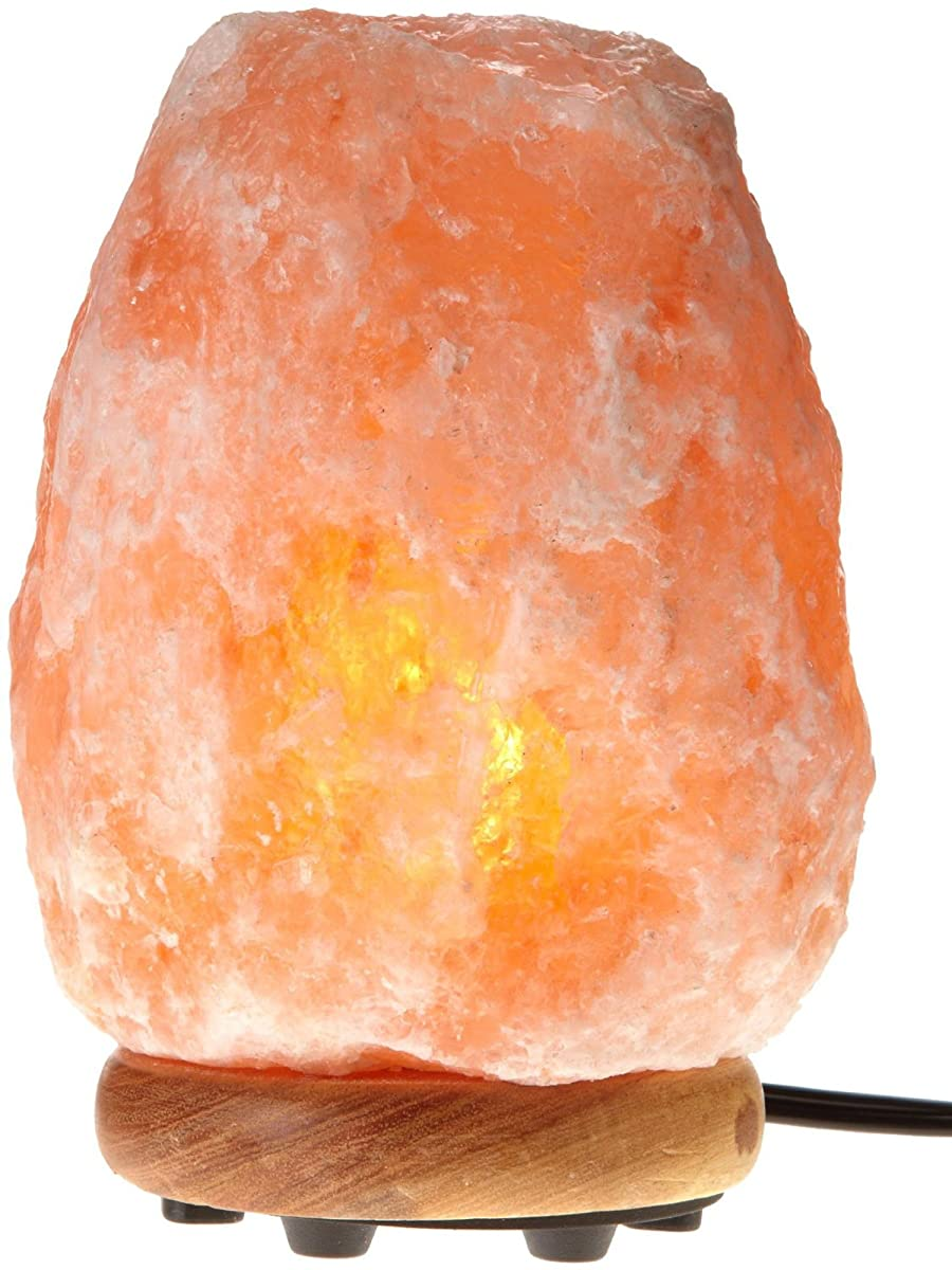 WBM Himalayan Glow 1001 Hand Carved Natural Salt Lamp with Genuine Neem Wood Base/Bulb and Dimmer Control, Crystal, Amber, 6 - 7-Inch, 5 - 6 lb