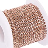 BENECREAT 10 Yard Crystal Rhinestone Close Chain Clear Trimming Claw Chain Sewing Craft About 2880pcs Rhinestones, 2mm - Light Peach (Silver Bottom) (Color: Light Peach (Silver Bottom), Tamaño: 2mm)