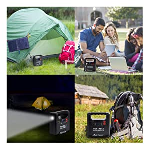 133Wh Power Station Avidpower AVJS171 DC 12V Portable Solar Generator Backup Power Supply with 110V AC Outlet QC3.0 USB Ports for Camping Travel Home Emergency
