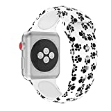 Wenicaca Bracelet for Apple Watch 38mm/42mm iWatch Replacement Wrist Band Pattern Printed Leather (Dog paw Prints, 38mm) (Color: 3, Tamaño: 38mm)