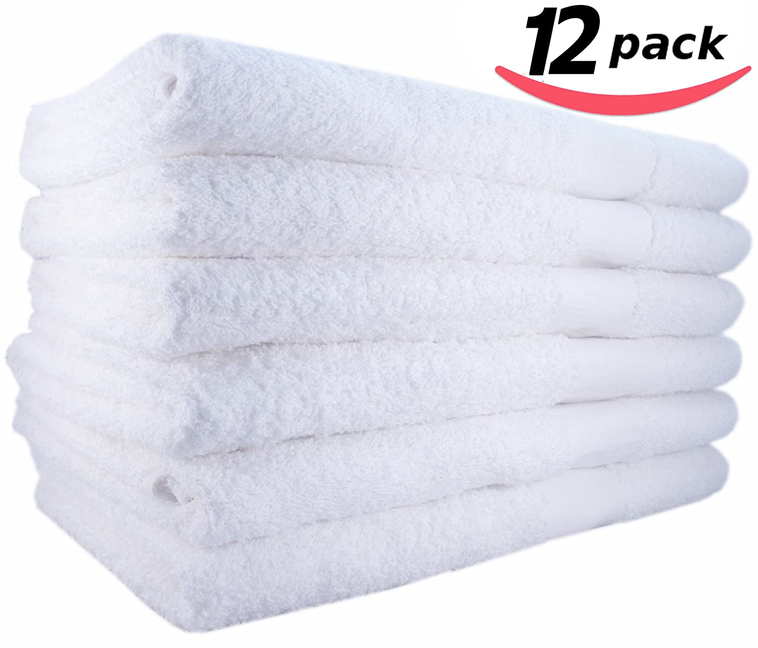 12 WHITE BATH TOWELS 22x44 Inches 100% COTTON, SOFT AND