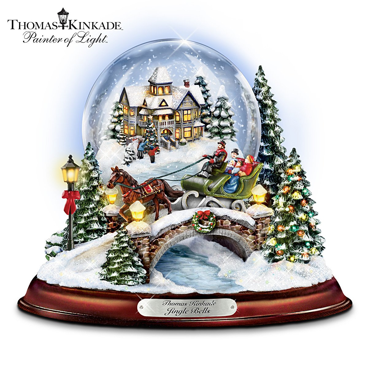 Thomas Kinkade Jingle Bells Illuminated Musical Christmas Snowglobe by The Bradford Exchange