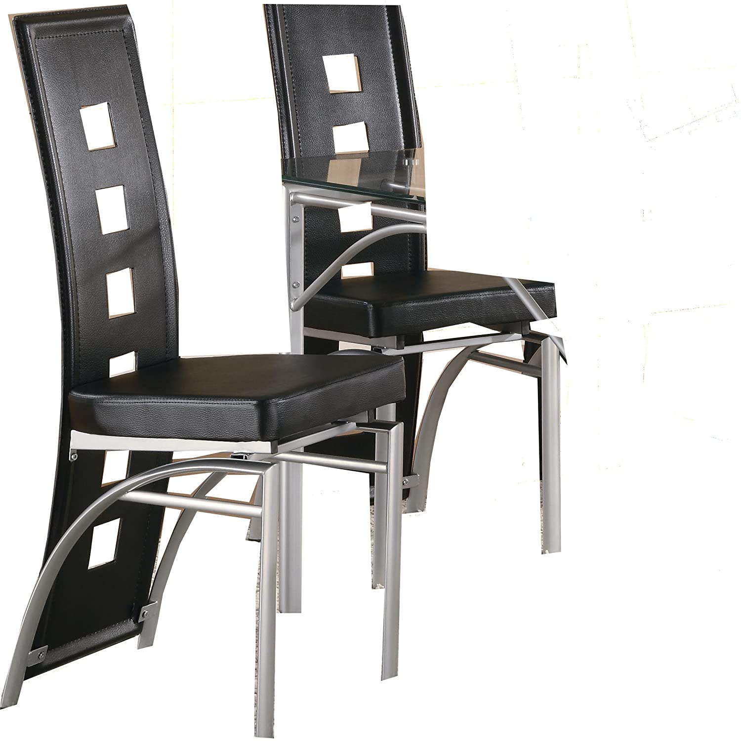 furnishings contemporary dining chair silver black set of 2 new ebay