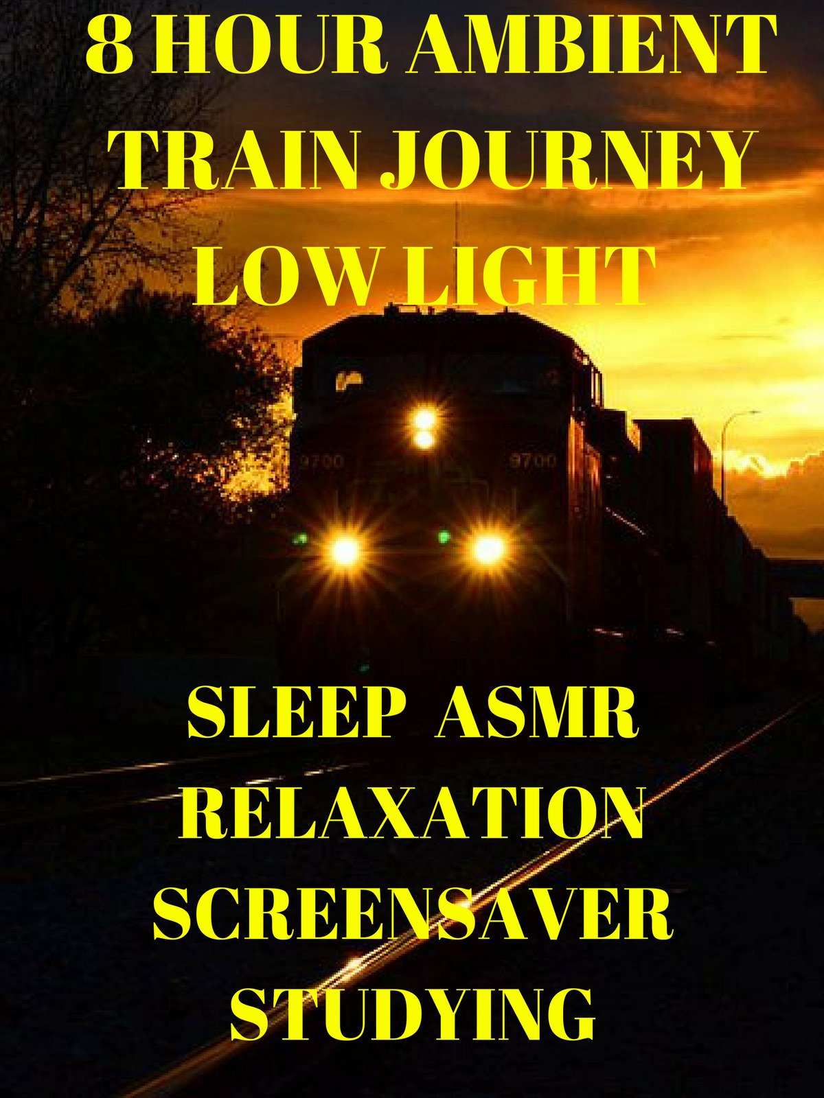 Ambient train journey 8 hour low light sleep ASMR relaxation studying screensaver