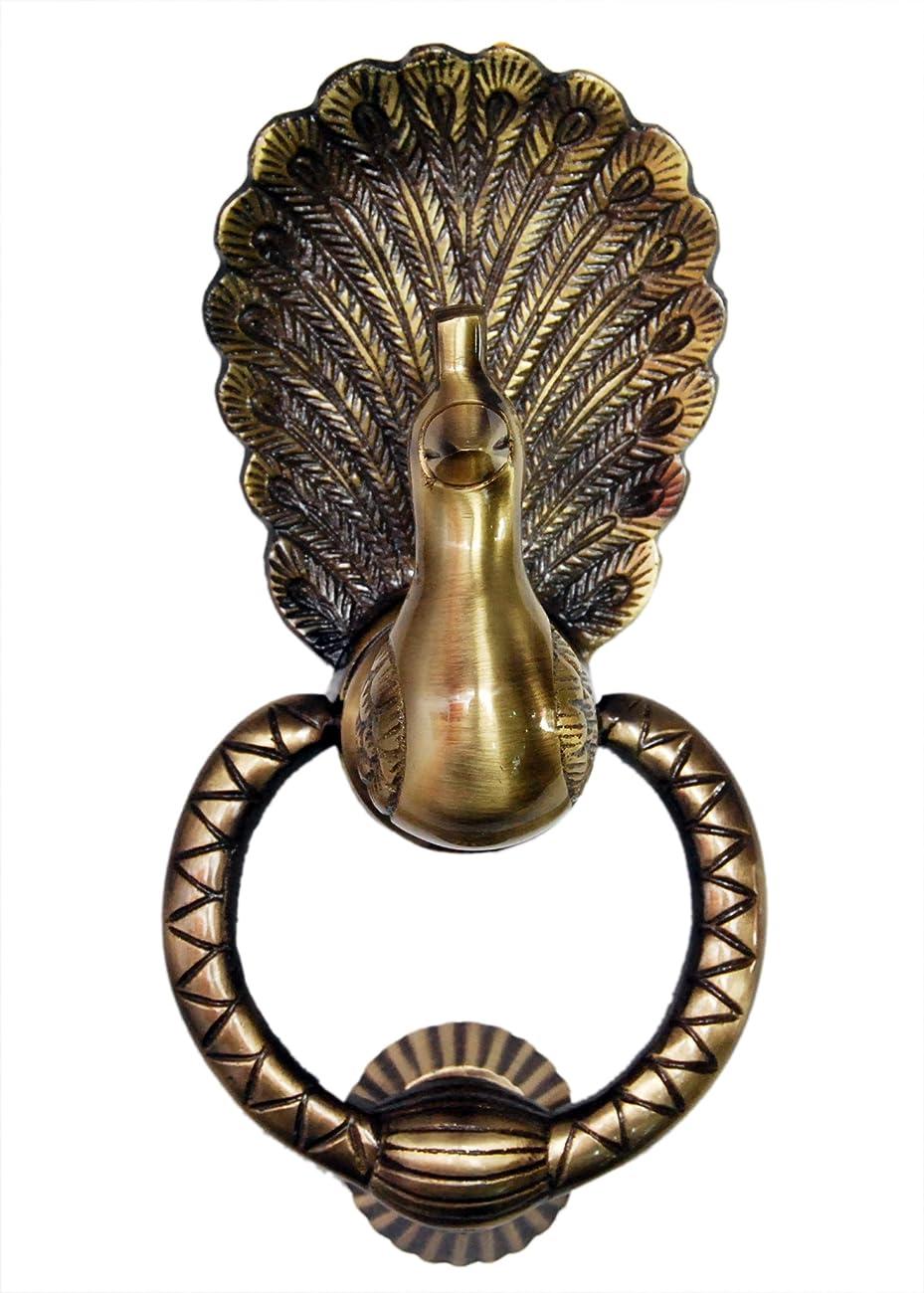 Unique Vintage Design Peacock Door Knocker (Full Brass) 0