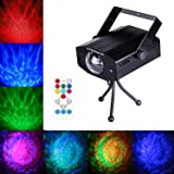 LED Water Ripples Laser Projector Linpote Sound Activated Strobe Stage lighting RGB Disco Dj Party Show lights 7 Color with Wireless Remote Control for KTV Club Bar Birthday Wedding Decoration (Color: Black)
