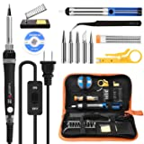 Tabiger Soldering Iron kit with Adjustable Temp 200-450°C and ON/OFF Switch, 60W Soldering kit with 5 Soldering tips, Desoldering Pump, Solder Wick, Solder wire, Wire Stripper Cutter, Stand, Tool Case