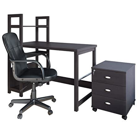 CorLiving WFP-580-Z1 Folio 3 Piece Desk, Cabinet and Office Chair Set, Black Espresso