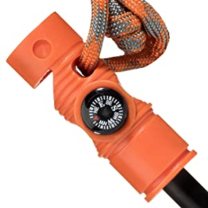 Swiss Safe 5-in-1 Fire Starter with Compass, Paracord and Whistle (2-Pack) for Emergency Survival Kits, Camping, Hiking, All-Weather Magnesium Ferro Rod (Hunting Orange) (Color: Hunting Orange)
